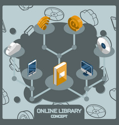online library color concept isometric icons vector image vector image