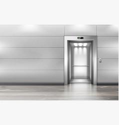 Open elevator doors in modern office hallway vector