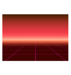 perspective grid in retro futurism style abstract vector image