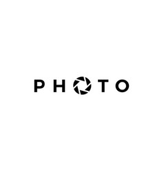 Photo letter mark shutter camera logo icon vector