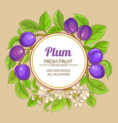 plum branches frame on color background vector image
