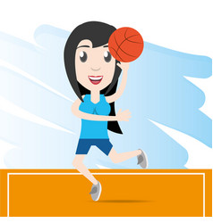 Pretty woman athlete playing basketball vector