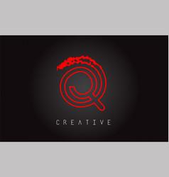 q monogram letter logo design brush paint stroke vector image