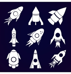 rockets icons set on space background vector image