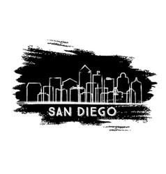San diego california city skyline silhouette hand vector