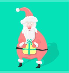 santa claus with christmas gift cartoon holiday vector image
