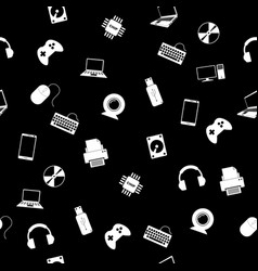 Seamless pattern with electronics vector