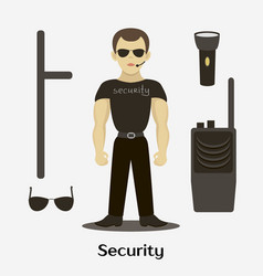 Security man standing vector