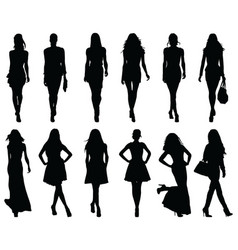 Set beautiful fashion girl silhouette vector