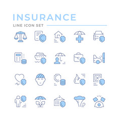 Set color line icons insurance vector