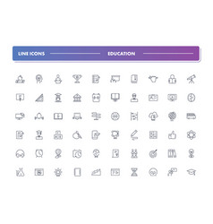 set of 60 line icons education vector image