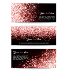 Set of banners with pink sparkles vector