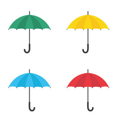 set of umbrellas yellow green red and blue vector image