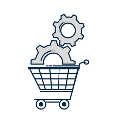shopping cart with gears vector image
