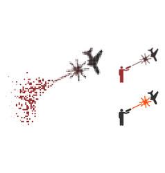 Shredded dot halftone rebel strikes airplane icon vector