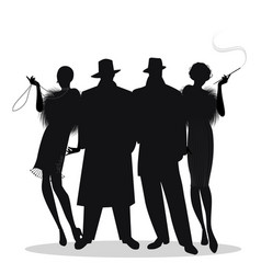 Silhouettes of two men and two flapper girls 20s vector