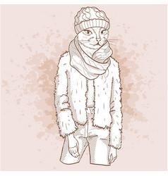 Sketch of elegant cat vector