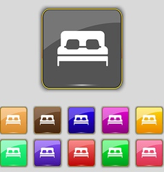 Sofa Icon sign Set with eleven colored buttons for vector image