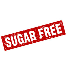 Square grunge red sugar free stamp vector