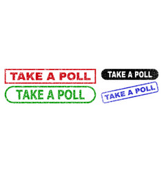 take a poll rectangle watermarks using scratched vector image