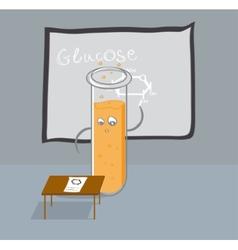 Test tube writes glucose formula on the blackboard vector