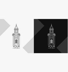 Tower with clock logotype vector