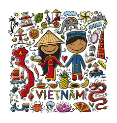 Travel to vietnam frame with traditional vector