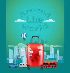 travel with the red bag around the world concept vector image
