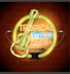 tropical music bar neon label vector image