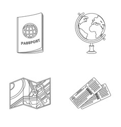 Vacation travel passport globe rest and travel vector