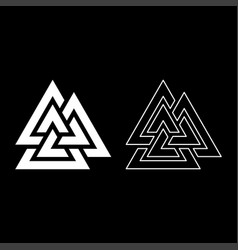 Valknut symbol icon set white color flat style vector