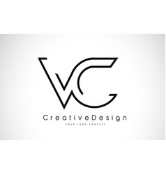Vc v c letter logo design in black colors vector
