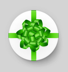White gift box with green bow and ribbon top view vector