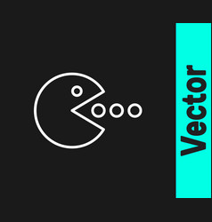 White line pacman with eat icon isolated on black vector