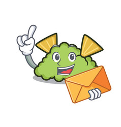 With envelope guacamole character cartoon style vector