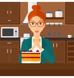Woman looking at cake vector