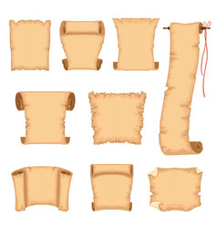 ancient paper scrolls set ancient parchments vector image