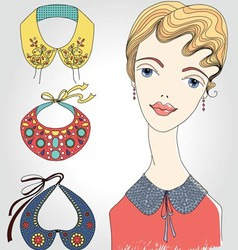 Fashion girl with set of collars vector image vector image