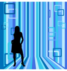 girl on striped background vector image vector image