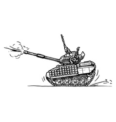 tank in comics style vector image