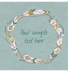 decorative ethnic frame with feathers threads and vector image vector image