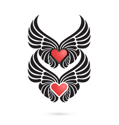 heart logo with angel wings on backgroundhappy vector image