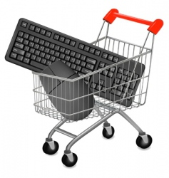shopping cart mouse vector image