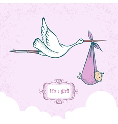 Stork with baby-girl vector