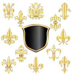 Golden Fleur de lis set small vector image