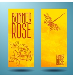 Banners with rose and dragonfly in doodle vector image vector image