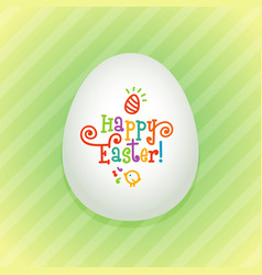 big easter egg with a colorful hand drawn text vector image