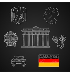 Germany national and travel icons vector image vector image