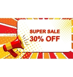 Megaphone with SUPER SALE 30 PERCENT OFF vector image