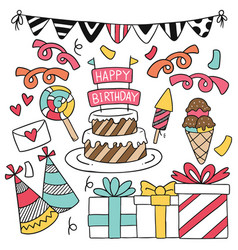 07-09-005 hand drawn party doodle happy birthday vector